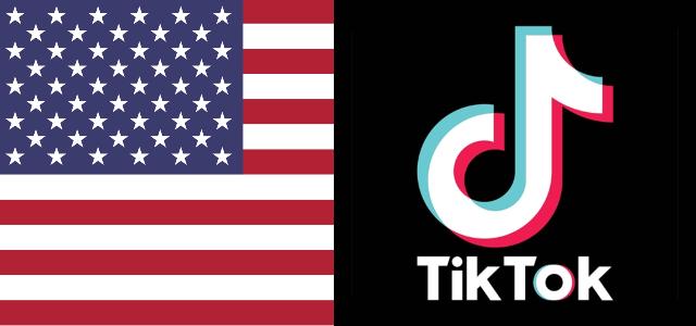 """צ'ארלי ואדיסון בסכנה? ארה""""ב שוקלת להחרים את טיקטוק. לוגו החברה ודגל ארה""""ב"""