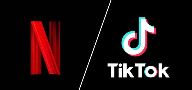 רכילות בקטנה: כוכבי הטיקטוק יקבלו תכנית בנטפליקס. לוגו netflix & tiktok